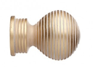 Cream Gold Ribbed Ball finial